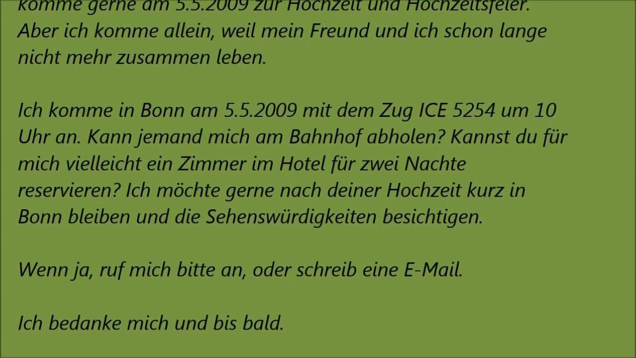 Deutsche Brief A1 A2 B1 Prüfung 21 Deutsch Lernen Youtube