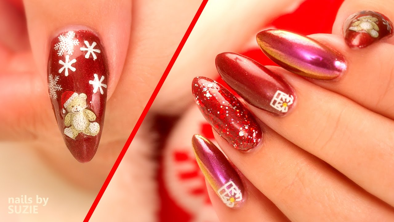 Christmas Nail Art Using Chrome Sparkles And Stickers Youtube