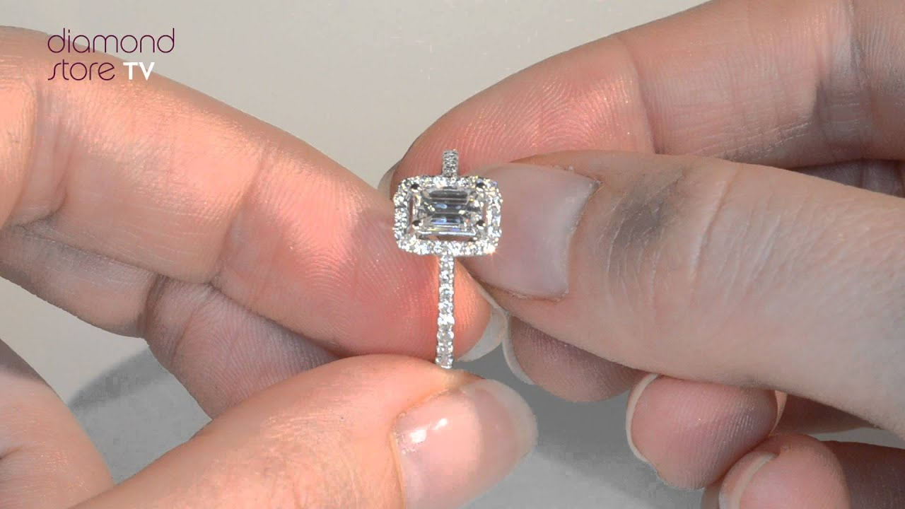 Radiant White Gold 18k Ella Emerald Cut Diamond Ring