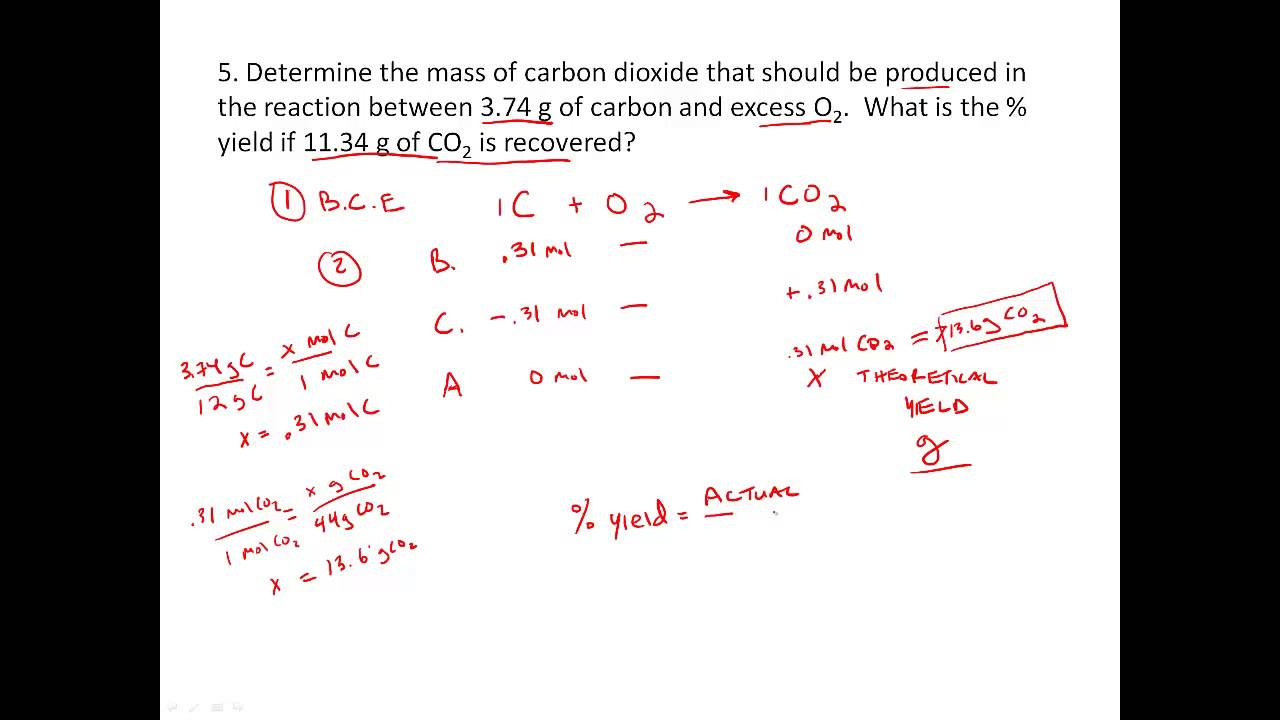 Stoichiometry practice - Percent Yield problems