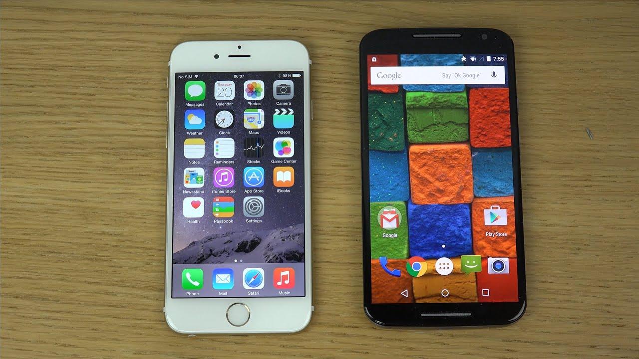 iPhone 6 iOS 8.2 vs. Moto X 2014 Android 5.0 Lollipop ...