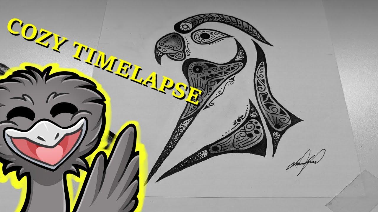 MEGA cozy Drawing Timelapse | Sun Conure