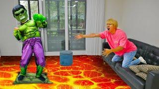 용암 탈출놀이 방탈출하기 과일 쿠션 파란천 놀이 슈퍼히어로 댄스 춤 Escape to lava funny Story Superhero Stories