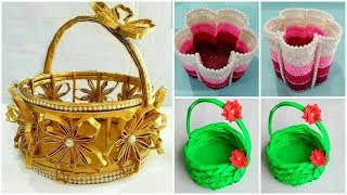 3 Beautiful Basket Making Out Of Waste | Home Decor Idea Out Of Waste