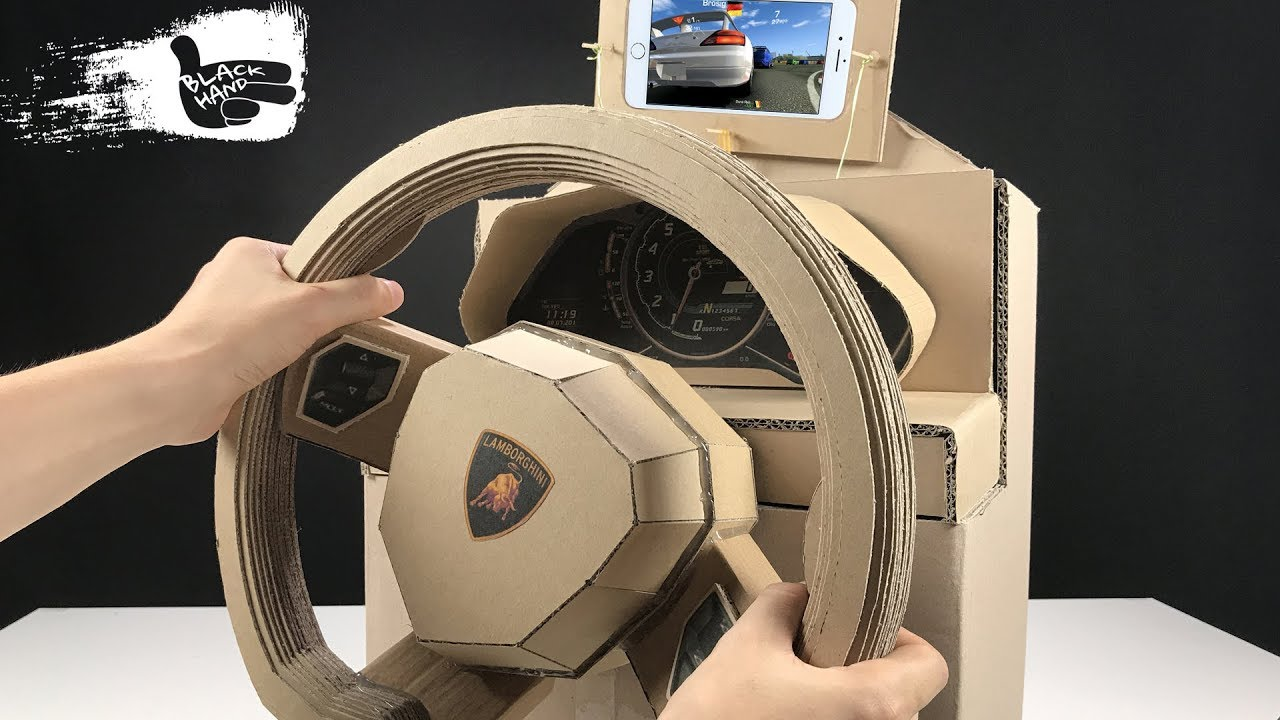 how to make lamborghini gaming steering wheel from cardboard - youtube