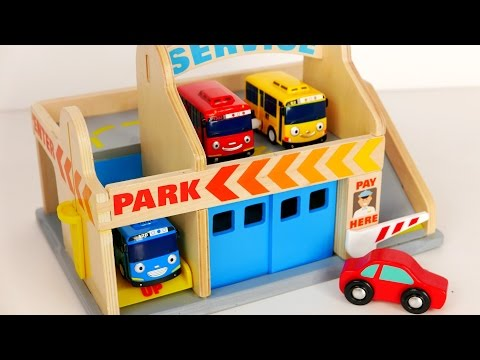 Parking Garage Services Playset for Kids!!! Tayo Bus and Car Toys for Children