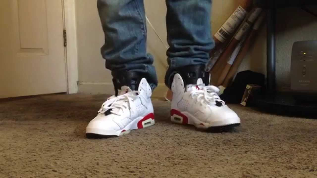 c3b24f7228b jordan 6 varsity red on feet - YouTube