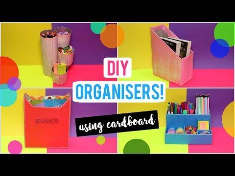 Easy DIY Desk Organizer! Cute Organizers Made From Cardboard