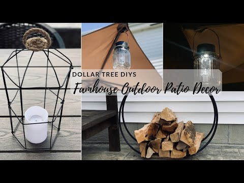 DOLLAR TREE DIY OUTDOOR PATIO DECOR|MODERN FARMHOUSE SPRING DECOR