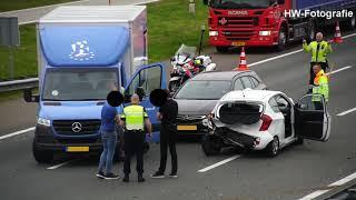 Botsing met meerdere voertuigen op A28 bij Zwolle
