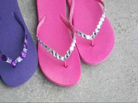 f3a2a1bf5 DIY Project - More Blinged Out Flip Flops From Dollar Tree - YouTube