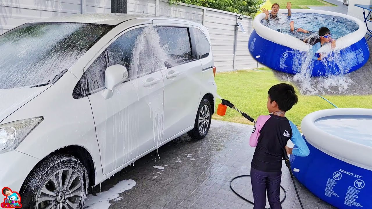 น้องบีม | ล้างรถด้วยเครื่องฉีดน้ำแรงดันสูง