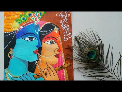 Easy Radha Krishna modern art drawing for beginners || Mordern art of Radha Krishna