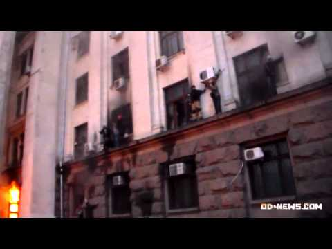 "In Odessa Radicals ""Right Sector"" set fire to the building in which civilians were"