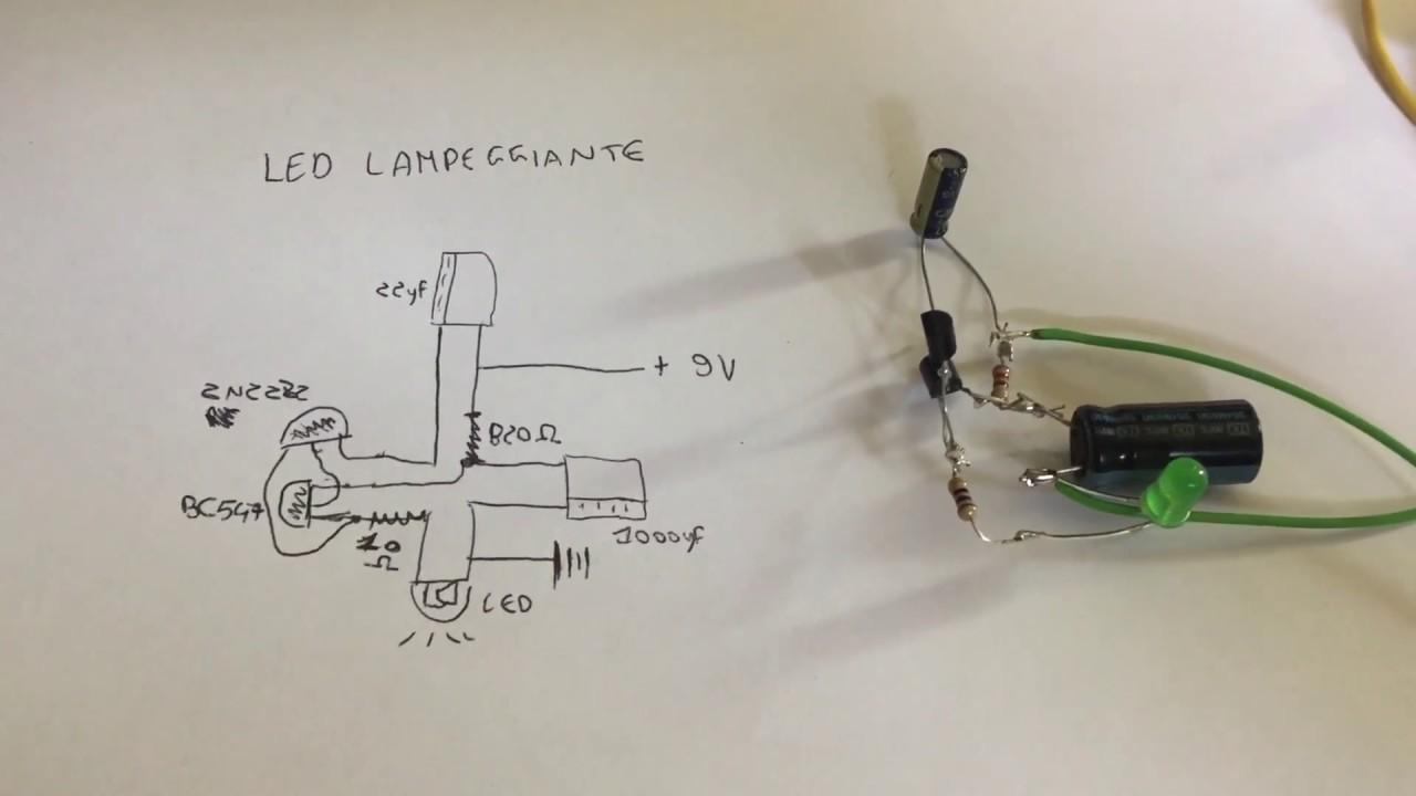Schema Elettrico Per Lampeggio Led : Led lampeggiante youtube
