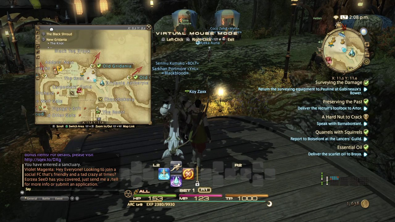 PS4 FFXIV Chat and Map box Adjustments (Easy)