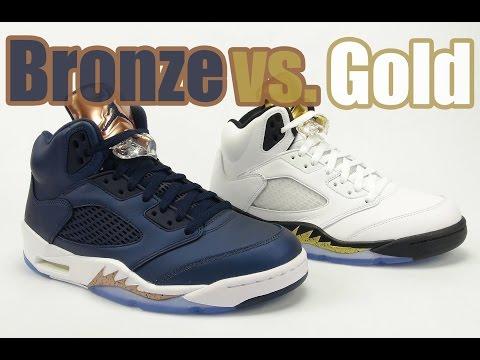Gold vs. Bronze Tongue Air Jordan 5