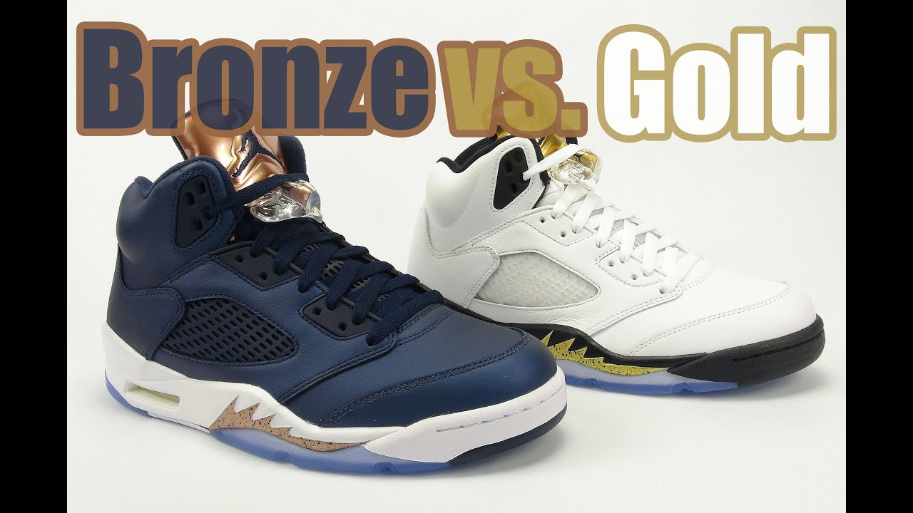 df8084bb8f3 Gold vs. Bronze Tongue Air Jordan 5 Comparison - YouTube