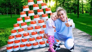 Varvara and Mom Play with COLORED CUPS and Ride on Mini Sport scooter