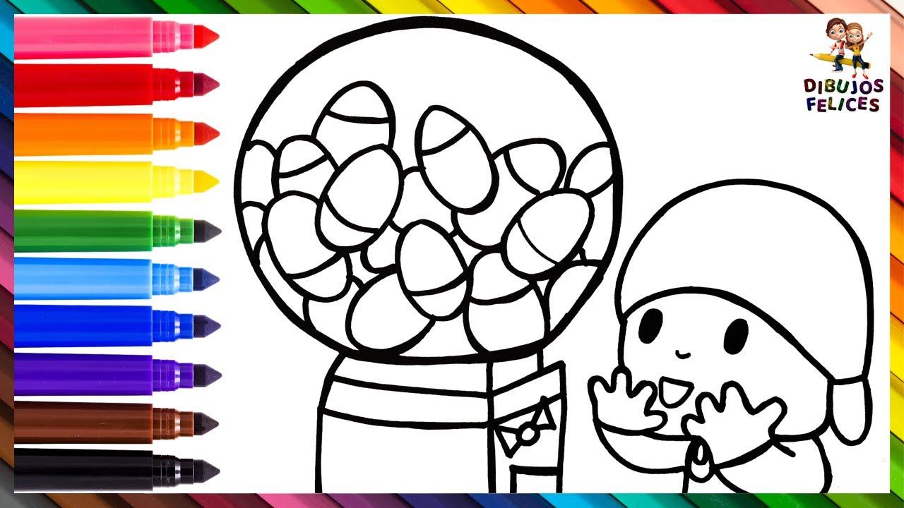 Dibuja y Colorea A Pocoyó Con Una Máquina Expendedora De Juguetes 👶🎁🔴🟠🟡🟢🔵🟣 Dibujos Para Niño