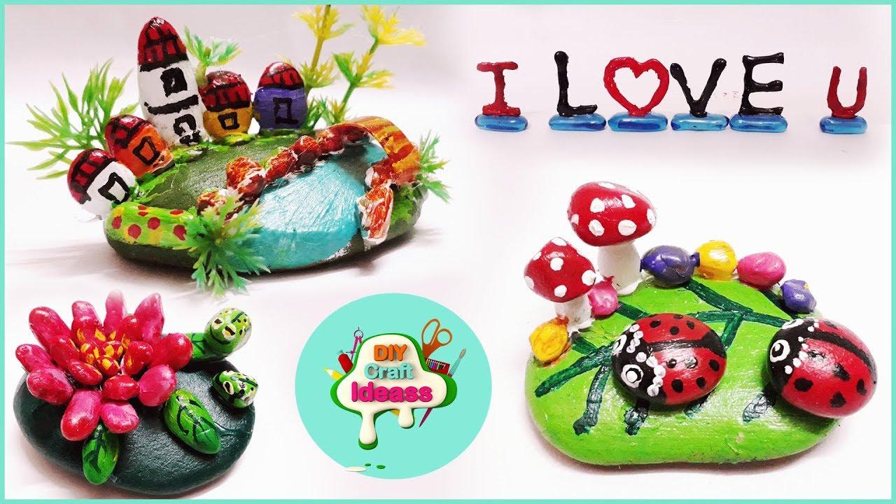 4 Easy Stone Art Ideas Diy Stone Craft Ideas Diy Rock Painting Craft Ideas Stone Paintings Youtube