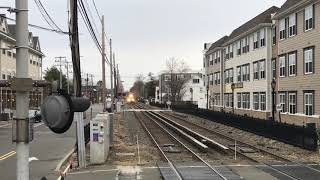 LIRR HD 60fps: Trespasser Has Near Miss @ Farmingdale w/ Tie Train (3/29/19)