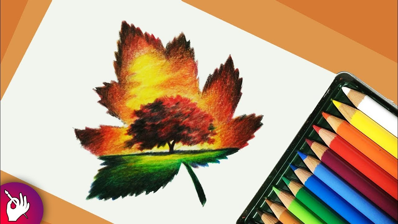 Scenery drawing with pencil colour - landscape scenery ...
