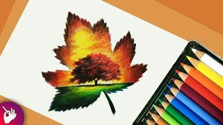 drawing colour nature scenery pencil drawings sketch landscape colorful paintingvalley