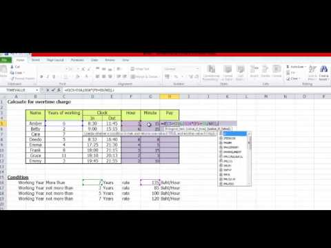 it excel calculate overtime charge youtube