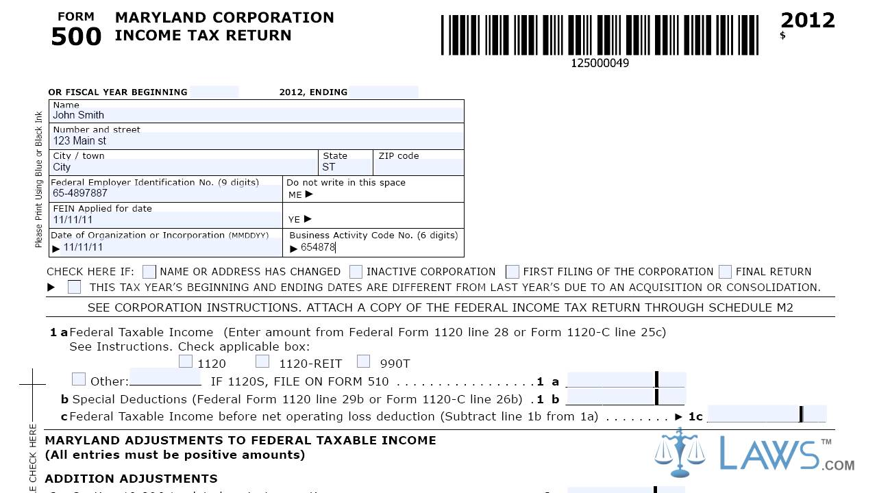 Form 500 Corporation Income Tax Return Youtube