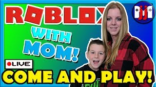 ROBLOX with MOM!! Eating nasty beans from Bean Boozled! Come and play on this live stream!