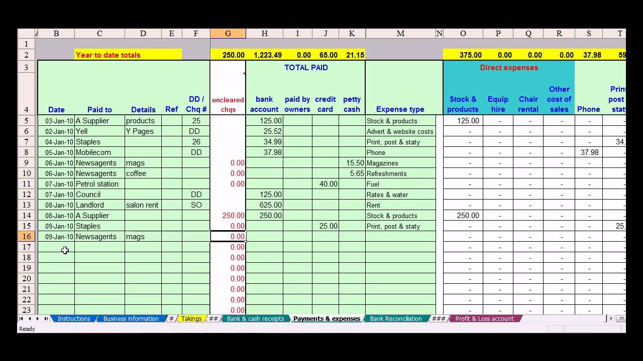 hairdresser bookkeeping spreadsheet youtube