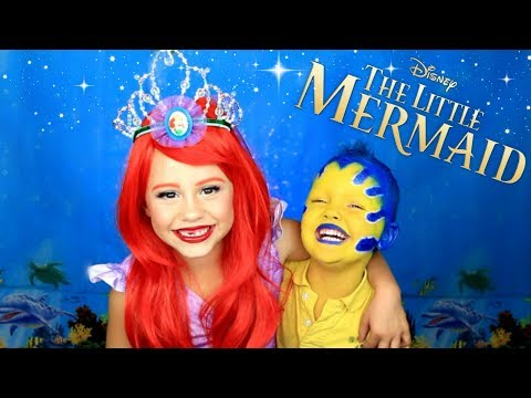 The Little Mermaid Ariel and Flounder Makeup and Costumes