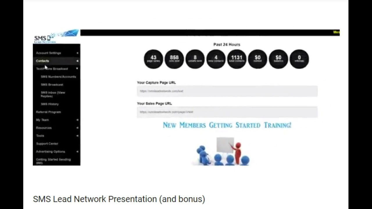 SMS Lead Network Back Office Preview & Special Free Sign Up Bonus worth $497