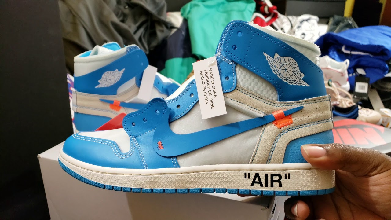 newest 8d9bb e648b NEW OFF WHITE X AIR JORDAN RETRO 1 OG 'UNC' RETAIL REVIEW