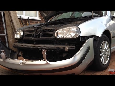 VW Golf MK4 - how to remove/replace front bumper - YouTube