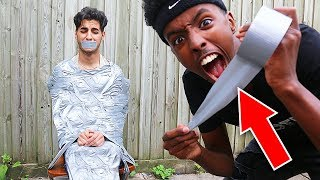 i duct taped my friend to a chair PRANK! (FRIEND CRIES)