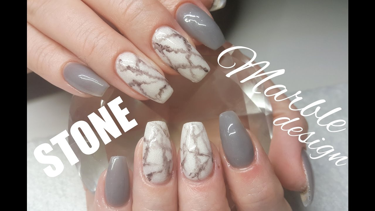 Full Coloured Acrylic Stone Marble Attempt Nail Design - YouTube