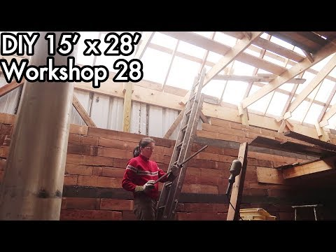 Building a 15'x28' (5mx9m) Workshop 28: Reclaimed Wood Plank Wall, Recycled Cellulose Insulation
