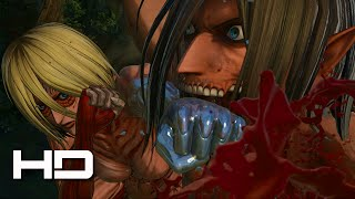 ATTACK ON TITAN (PS4) Eren VS Female Titan Full Fight - Walkthrough Gameplay Cutscene