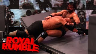 Goldberg Spears Drew McIntyre through the barricades: Royal Rumble 2021 (WWE Network Exclusive)