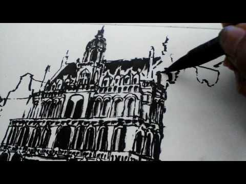 Sketch with brush and ink : Belgium Brussels Grand Place