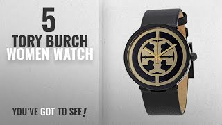 Top 10 Tory Burch Women Watch [2018]: Tory Burch Reva Black Dial Leather Strap 36 MM Ladies Watch