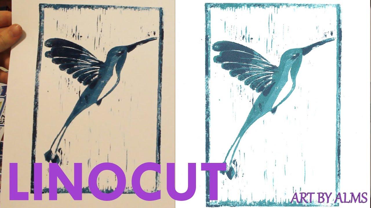 linocut process hummingbird print youtube