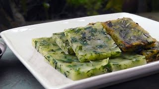 Thai steamed Garlic Chives Cake - Vegan Vegetarian Recipe
