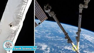 Space debris smashes into robotic arm of ISS causing small hole to appear