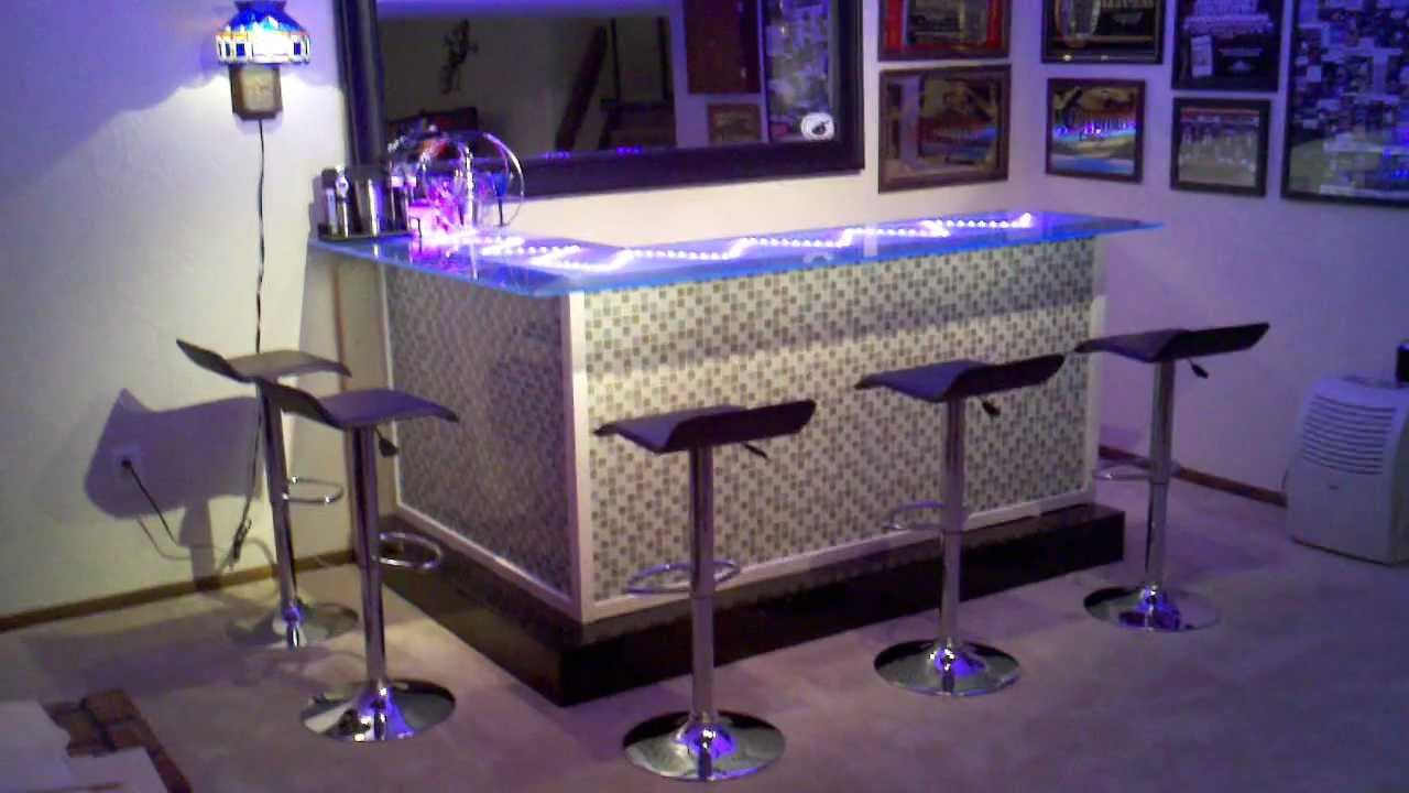 My Custom Bar With Glass Top And Led Lighting Youtube