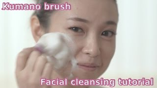 Kumano brush facial cleansing tutorial