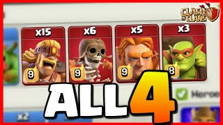 ALL 4 SUPER TROOPS in ONE ATTACK *Clash of Clans*