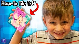 How to Make TiLE ART with HobbyKidsTV! Tutorial DIY of Arts and Crafts